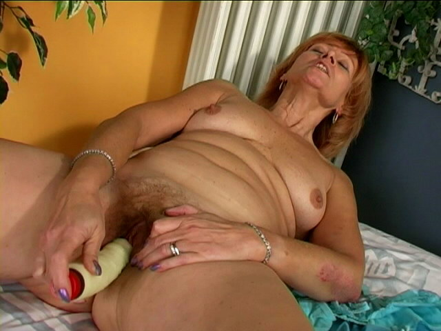 Aroused Sandy-haired Grandmother Damsel Slurping A Huge Fake Penis With Fervor